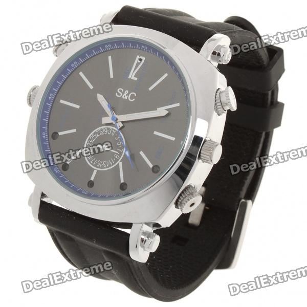 1080P 2MP Rechargeable Pin-Hole Spy Camera w/ IR Night Vision Disguised as Wrist Watch (4GB)