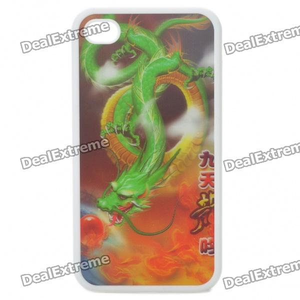 Protective Back Case with 3D Graphic for iPhone 4 - Green Dragon Pattern