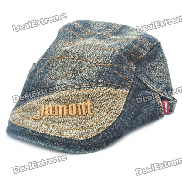 Vintage Jean Denim Fabric Cap Hat with Jamont Pattern chairman mao pattern flat top cotton fabric cap hat