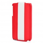 Stylish Protective PU Leather Case for Iphone 4 - Red + White