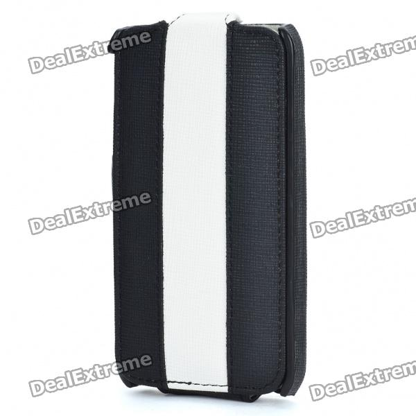 Stylish Protective PU Leather Case for iPhone 4 - Black + White