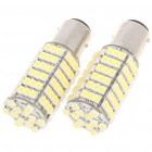 1157 Ba15d 7.5W 6500K 480-Lumen 120x3528 SMD LED White Light Bulbs for Car - Pair (12V)