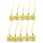 Cute Mini Smile Expression Bell Cell Phone Straps (10-Pack)