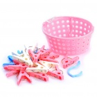 High Quality Clothespin Laundry Clips with Storage Basket - Random Color (20 Piece Pack)