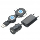 EU Plug/Car Power Adapter + Retractable USB Charging Cable Charger Set for iPhone/iPad/Nokia/Samsung