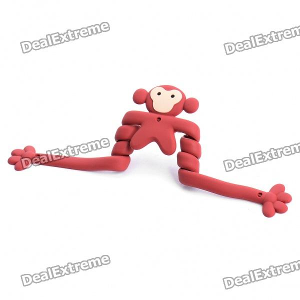 Flexible Cartoon langen Hände Monkey Style Drahtseil Kabelbinder Twister Organizer - Dark Red