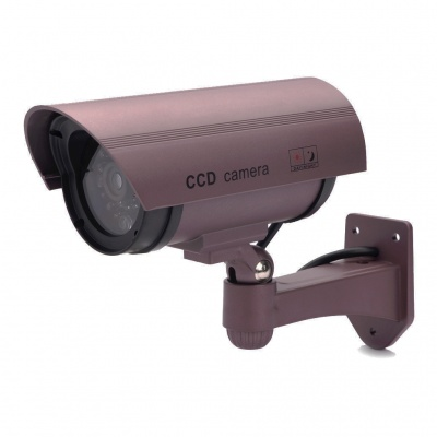 Realistic Dummy Surveillance Security Camera w/ Blinking Red LED - Purple (3 x AA)