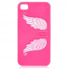 Charming Angel Wing Stand Back Case for iPhone 4 - Deep Pink