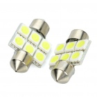 SV85 31mm 0,5 W 6500K 65lm 6-SMD LED White Lights für Car (Pair / 12V)