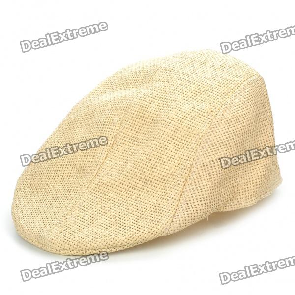Vintage Cool Straw Woven Cap Hat - Beige stetson men s breakers premium shantung straw hat