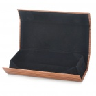Elegant Wood Style Grain Paperboard + Leather Glasses Box Case - Brown