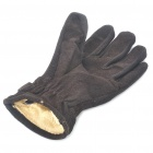 Stylish Warm Leather Knit Gloves - Coffee (Pair)