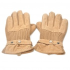 Stylish Warm Leather Knit Gloves - Khaki (Pair)