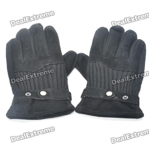 Stylish Warm Leather Knit Gloves - Black (Pair)