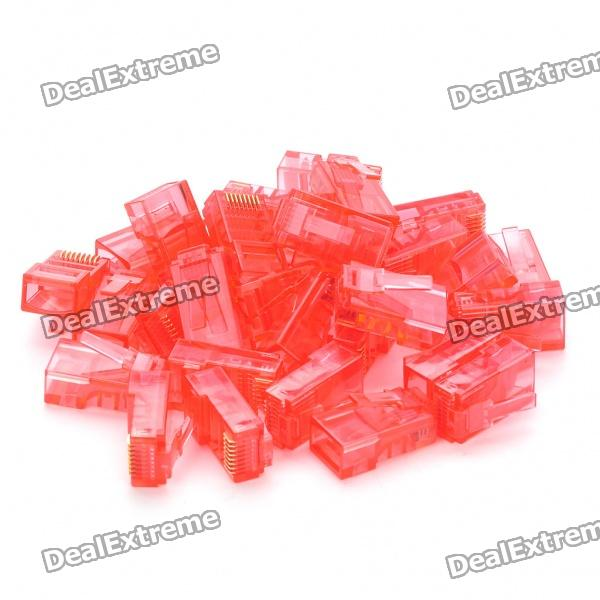 RJ45 8P8C Network Modular Plug Connector - Red (30 Piece Pack)