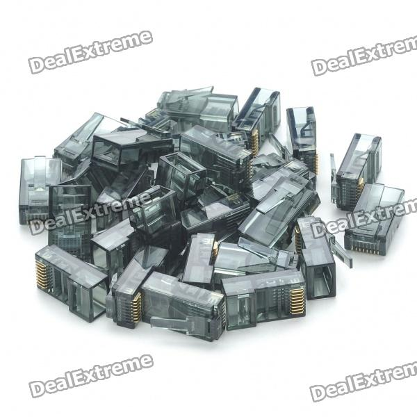 RJ45 8P8C Network Modular Plug Connector - Black (30 Piece Pack)