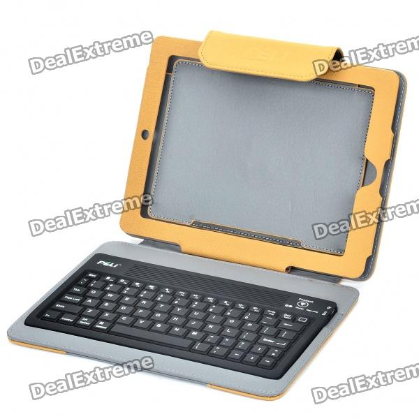 76-Key Bluetooth V2.0 Wireless Keyboard with Folding Leather Case for iPad 2 - Brown