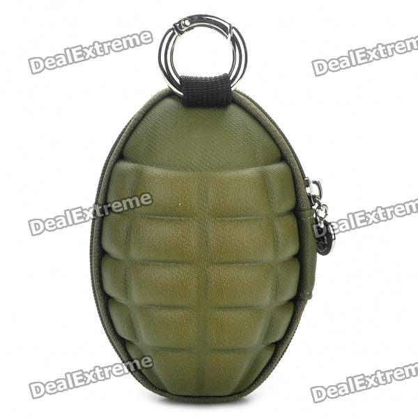 Novelty Creative Grenade Shaped Zippered Key Case Coin Pouch Bag Purse - Army Green