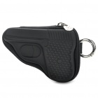 Novelty Creative Pistol Shaped Zippered Key Case Coin Pouch Bag Purse - Black