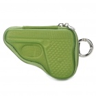 Novelty Creative Pistol Shaped Zippered Key Case Coin Pouch Bag Purse - Green