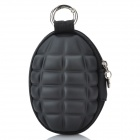 Novelty Creative Grenade Shaped Zippered Key Case Coin Pouch Bag Purse - Black