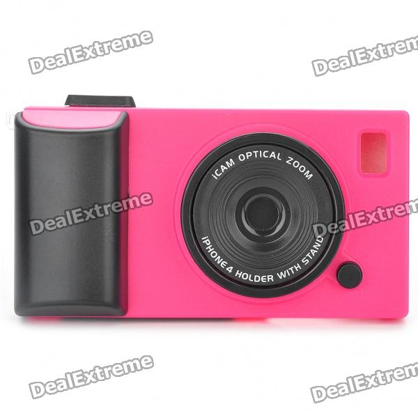 Creative Unique Camera Style Protective Case for Iphone 4 - Deep Pink + Black pickogen he 077 uv fisheye macro wide angle camera lens with led for iphone samsung pink