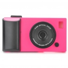 Creative Unique Camera Style Protective Case for iPhone 4 - Deep Pink + Black