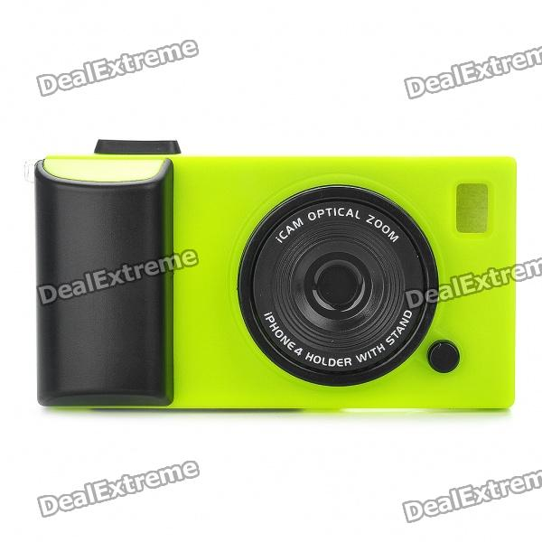 Creative Unique Camera Style Protective Case for iPhone 4 - Green + Black