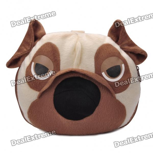 Cute Pug Dog Head Style CD Storage Bag - Brown (Holds 24-CD)