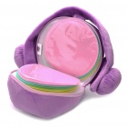 Cute Short Plush Headset Ball Style CD Storage Bag - Purple (Holds 24-CD)