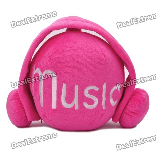 Cute Short Plush Headset Ball Style CD Storage Bag - Red (Holds 24-CD)