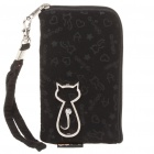 Fashionable Animob Pattern Mobile Phone Carrying Bag/Pouch with Strap - Black