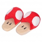 Cute Super Mario Mushroom Style Thicken Plush Slipper - Red + White (Pair/Set)