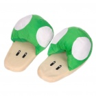 Cute Super Mario Mushroom Style Thicken Plush Slipper - Green + White (Pair/Set)