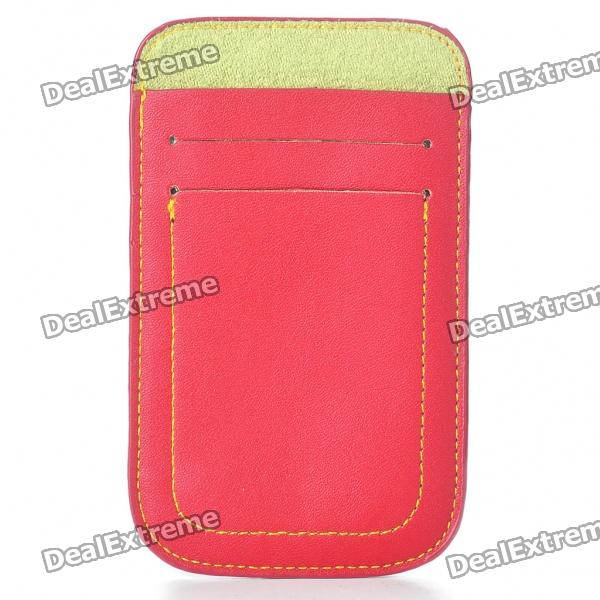 Protective Leather Case Pouch for Iphone 4/4S - Red protective pu leather pouch bag for iphone 5 4 4s coffee