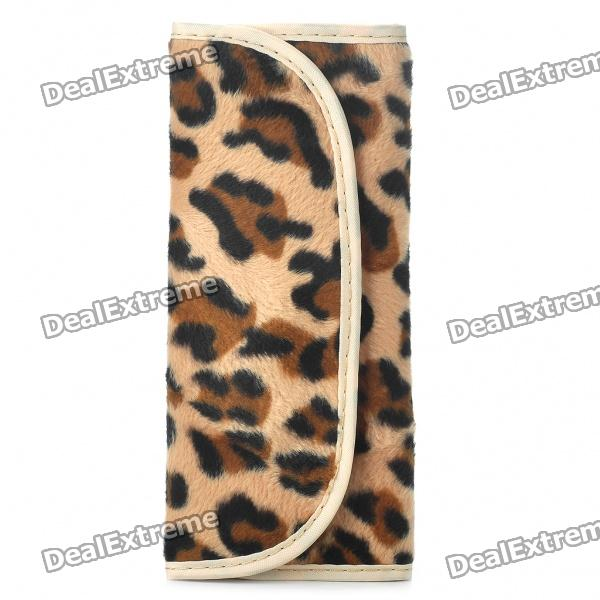 Portable Cosmetic Makeup Brush Set with Leopard Bag (7-Piece Pack)