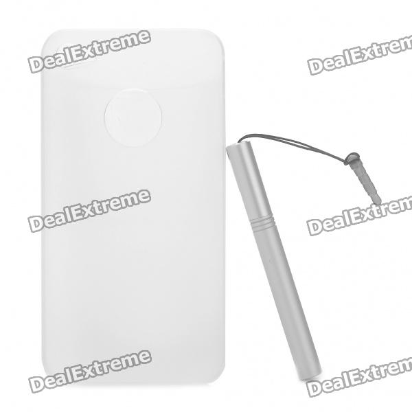 0.5mm Ultra Slim Protective Back Case with Stylus Pen for Iphone 4/4S - Transparent White