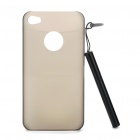 0.5mm Ultra Slim Protective Back Case with Stylus Pen for Iphone 4/4S - Transparent Grey