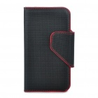 Protective PU Leather Case Bag for Iphone 4 - Black + Red