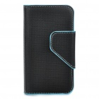 Protective PU Leather Case Bag for Iphone 4 - Black + Blue