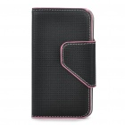 Protective PU Leather Case Bag for Iphone 4 - Black + Pink