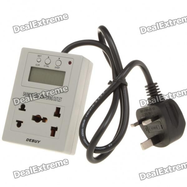 "1.6"" LCD Saving Energy Monitoring Outlet - Grey (220V 6A/England Plug)"