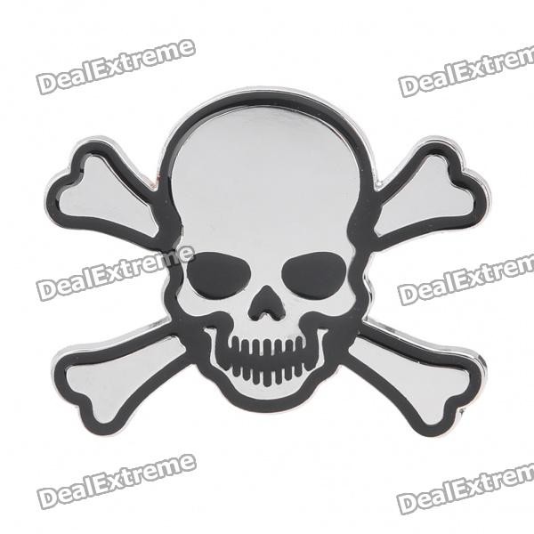 Fashionable Skull Head Style Car Decoration Sticker - Silver + Black skull head style spring car decoration red white