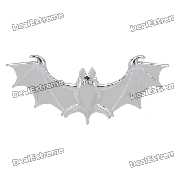 Fashionable Bat Style 3D Car Decoration Sticker - Silver 3d turbo style grill decoration emblem for car tuning silver