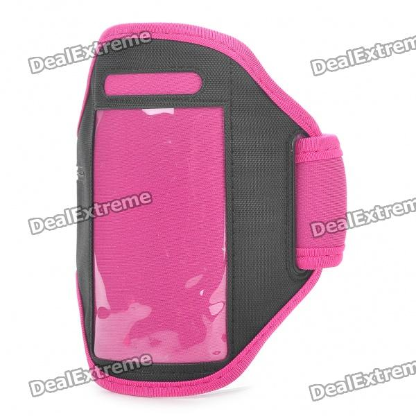 Fashion Sports Gym Arm Band Case for Iphone 4/4S - Deep Pink + Black