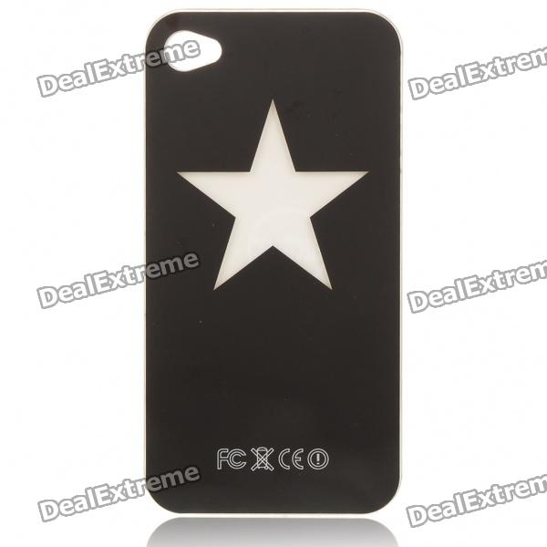 Stylish Star Pattern Multicolored LED Protective Plastic Back Case for Iphone 4 - Black (1 x CR2016) от DX.com INT