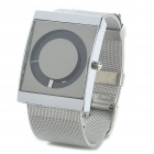 Stylish Stainless Steel Water Resistant Square-Shaped Dial Wrist Watch - Silver + Black (1x377)