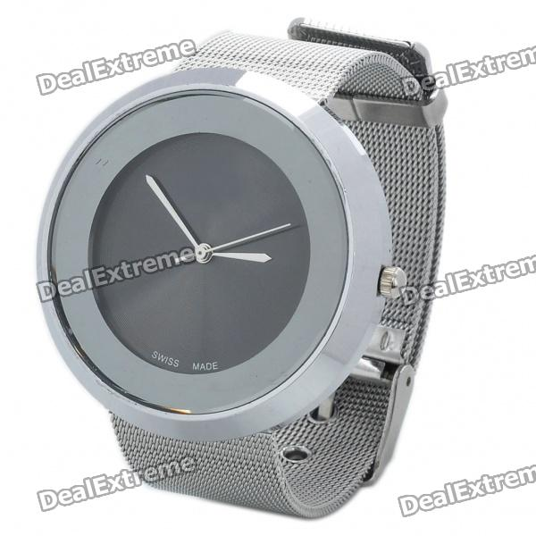 Stylish Stainless Steel Water Resistant Round-Shaped Dial Wrist Watch - Silver + Black (1x377)