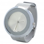 Stylish Stainless Steel Water Resistant Round-Shaped Dial Wrist Watch - Silver + Light Gold (1x377)
