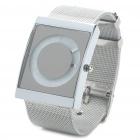 Stylish Stainless Steel Water Resistant Square-Shaped Dial Wrist Watch - Silver + White (1x377)